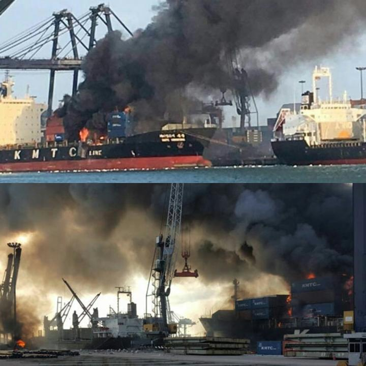 20 Hospitalized As Chemical Fire erupted Onboard KMTC Container Ship